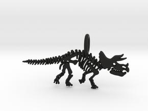 Triceratops Skeleton Pendant in Black Natural Versatile Plastic