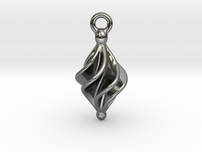 Rhomboidal Earring Twisted in Fine Detail Polished Silver