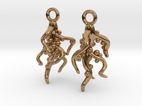 Nodulated Root Earrings - Science Jewelry in Polished Brass