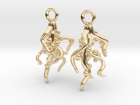 Nodulated Root Earrings - Science Jewelry in 14K Yellow Gold