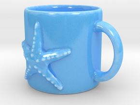 Starfish Coffee Mug in Gloss Blue Porcelain