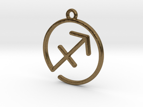 Sagittarius Zodiac Pendant in Natural Bronze