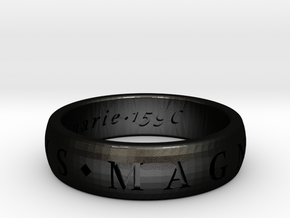 Size 10 Sir Francis Drake, Sic Parvis Magna Ring  in Matte Black Steel