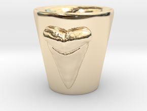 Shark tooth shot glass in 14K Yellow Gold