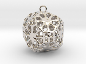Christmas Bauble No.3 in Rhodium Plated Brass