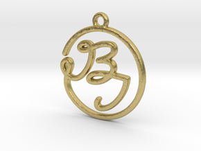 B & I Script Monogram Pendant in Raw Brass