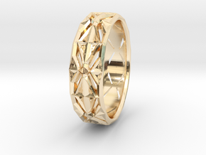 Cut Facets Ring Sz. 4 in 14k Gold Plated Brass