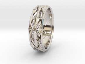 Cut Facets Ring Sz. 4 in Rhodium Plated Brass