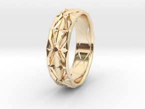 Cut Facets Ring Sz. 4.5 in 14k Gold Plated Brass