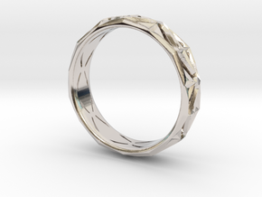 Cut Facets Ring Sz. 7.5 in Rhodium Plated Brass