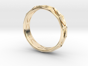 Cut Facets Ring Sz. 9 in 14k Gold Plated Brass