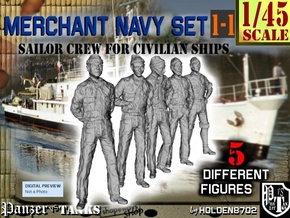 1-45 Merchant Navy Crew Set 1-1 in Smooth Fine Detail Plastic