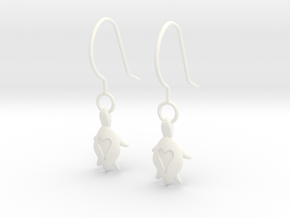 Turtle Heart Earrings in White Processed Versatile Plastic