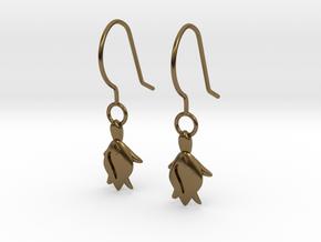 Turtle Heart Earrings in Polished Bronze