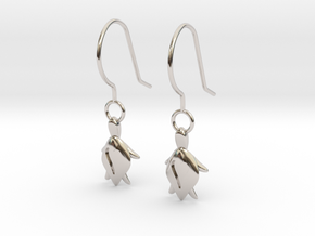 Turtle Heart Earrings in Rhodium Plated Brass