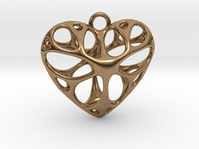 Heart Pendant_large in Natural Brass