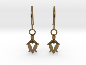 Holy Turtle Heart Earrings in Polished Bronze