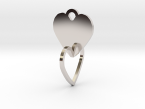 heart of the ring to connect with heart in Rhodium Plated Brass