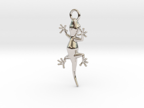 Gecko Luck Earring in Rhodium Plated Brass