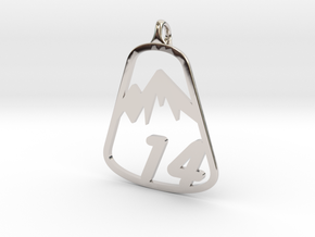 Classic 14er Pendant in Rhodium Plated Brass