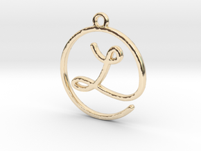 L Script Monogram Pendant in 14k Gold Plated Brass