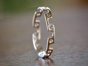 Alternating Links - Ring in Polished Silver
