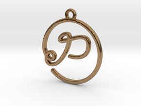 P Script Monogram Pendant in Raw Brass