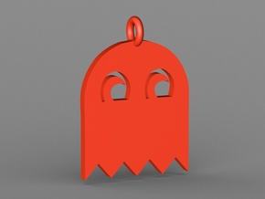 PacMan Ghost Pendant in Red Strong & Flexible Polished