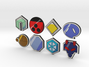 Pokemon Badges (Johto League) in Full Color Sandstone