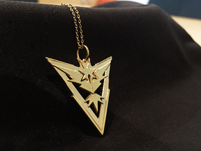 Team Instinct Pendant - Pokemon Go - Zapdos in 14k Gold Plated Brass