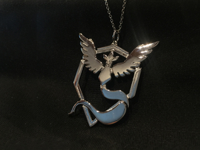 Team Mystic Pendant - Pokemon Go - Articuno in Rhodium Plated Brass
