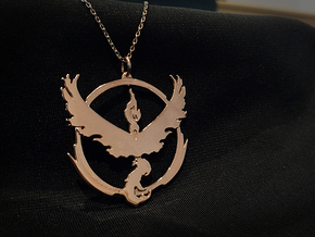 Team Valor Pendant - Pokemon Go - Moltres in 14k Rose Gold Plated Brass