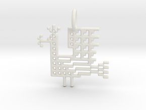 Pixel Peacock Pendant in White Natural Versatile Plastic