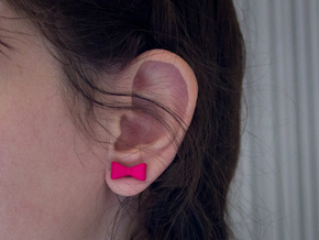 Itty Bitty Bow Studs in Pink Processed Versatile Plastic