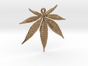 Marijuana leaf pendant in Natural Brass
