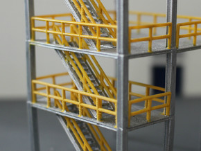 N Scale 3x Refinery Stairs (modular) in Smooth Fine Detail Plastic