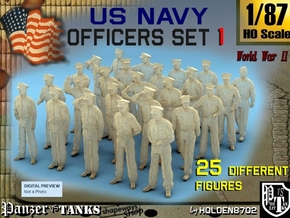 1-87 USN Officers Set1 in Smooth Fine Detail Plastic