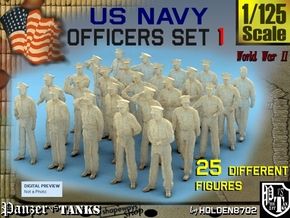 1-125 USN Officers Set1 in Smooth Fine Detail Plastic