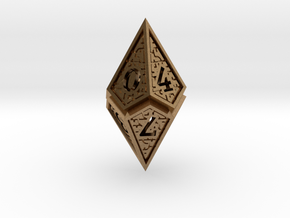 Hedron D10: Open (Hollow), balanced gaming die in Natural Brass