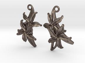 Sampaguita Earrings in Polished Bronzed Silver Steel