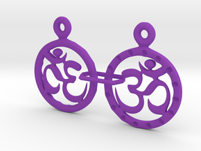 Om EarRings - Pair - Plastic in Purple Processed Versatile Plastic