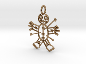 Voodoo Doll of Halloween Pendant in Natural Brass