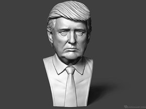 Donald Trump. Portrait bust in White Natural Versatile Plastic