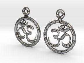 Om EarRings - Pair - Precious Metal in Fine Detail Polished Silver