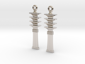 Djed EarRings - Pair - Precious Metal in Rhodium Plated Brass