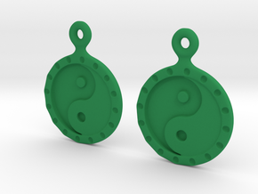 YinYang EarRings 1 - Pair - Plastic in Green Processed Versatile Plastic