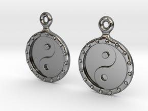 YinYang EarRings 1 - Pair - Precious Metal in Fine Detail Polished Silver