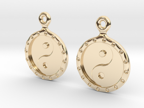 YinYang EarRings 1 - Pair - Precious Metal in 14k Gold Plated Brass