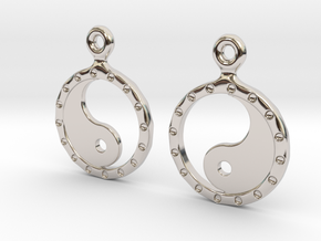 YinYang EarRings 2 - Pair - Precious Metal in Rhodium Plated Brass