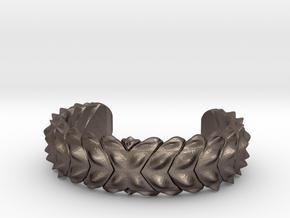 Hard Shred Cuff bracelet   Narrow  in Polished Bronzed Silver Steel: Medium